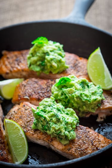 easy skillet salmon with avocado and basil