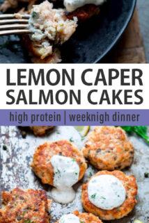 salmon cakes collage