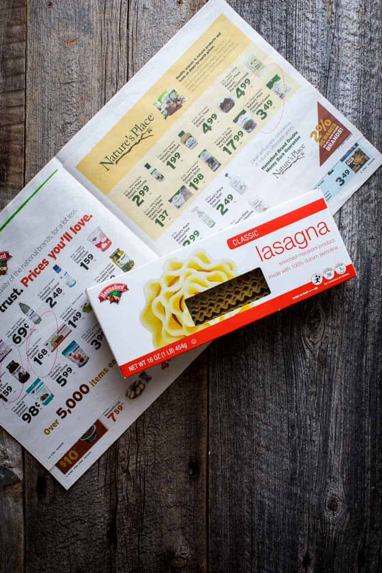 The Hannaford Flyer and a box of lasagna noodles