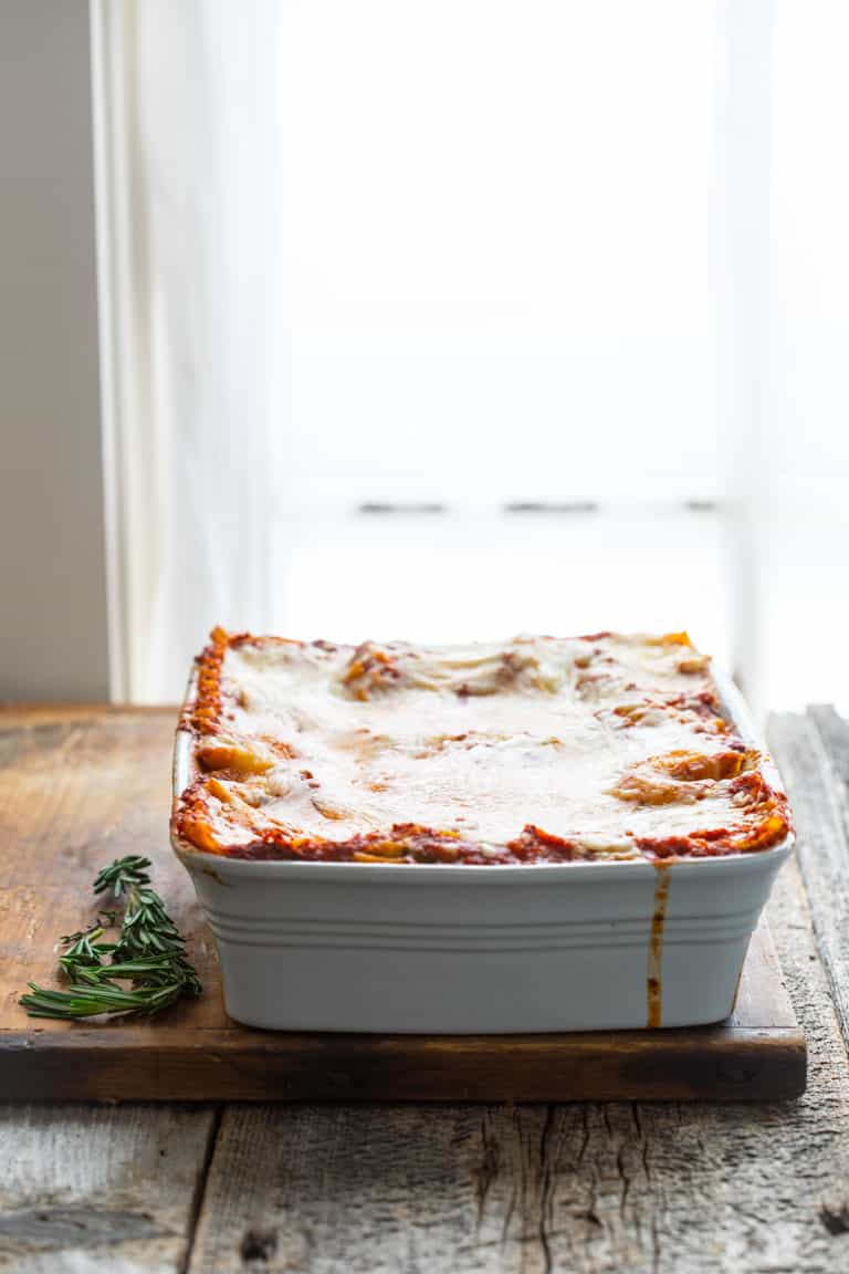 Caramelized Onion and Portabella Mushroom Lasagna in a baking dish