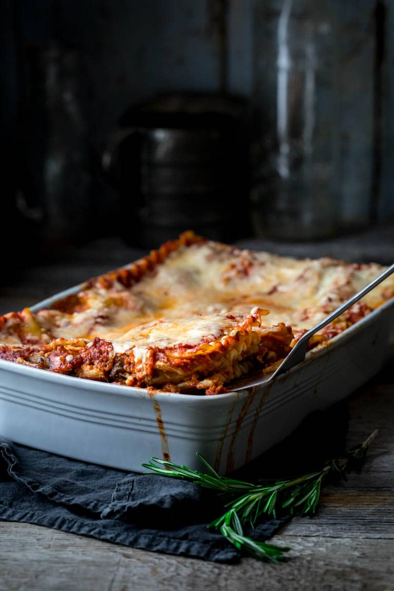 Vegetarian Caramelized Onion and Portabella Mushroom Lasagna #lasagna #italianfood #lasagnarecipe #vegetarian