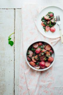 These Cooked Radishes in Miso Butter are an incredibly tasty Spring side dish perfect for your Easter table. | Healthy Seasonal Recipes | Katie Webster