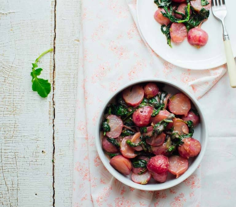 cooked radishes in miso butter