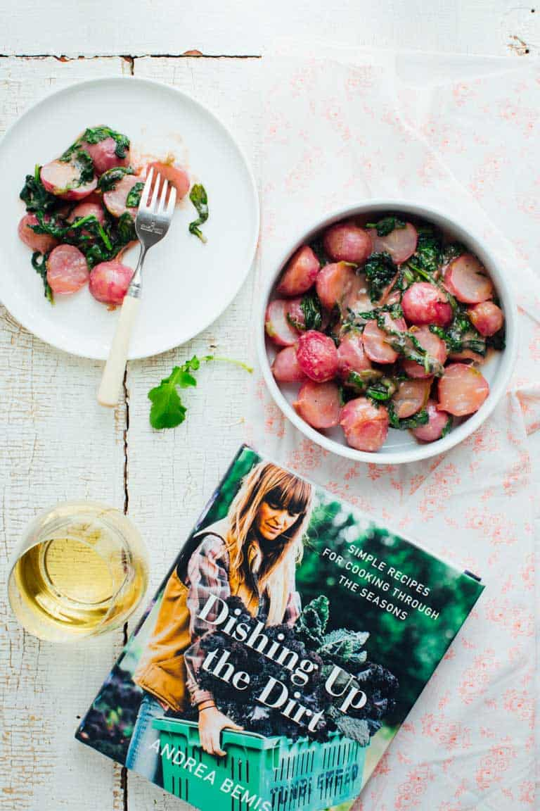These Cooked Radishes in Miso Butter are an incredibly tasty Spring side dish perfect for your Easter table. | Dishing up the Dirt | Andrea Bemis | Healthy Seasonal Recipes | Katie Webster