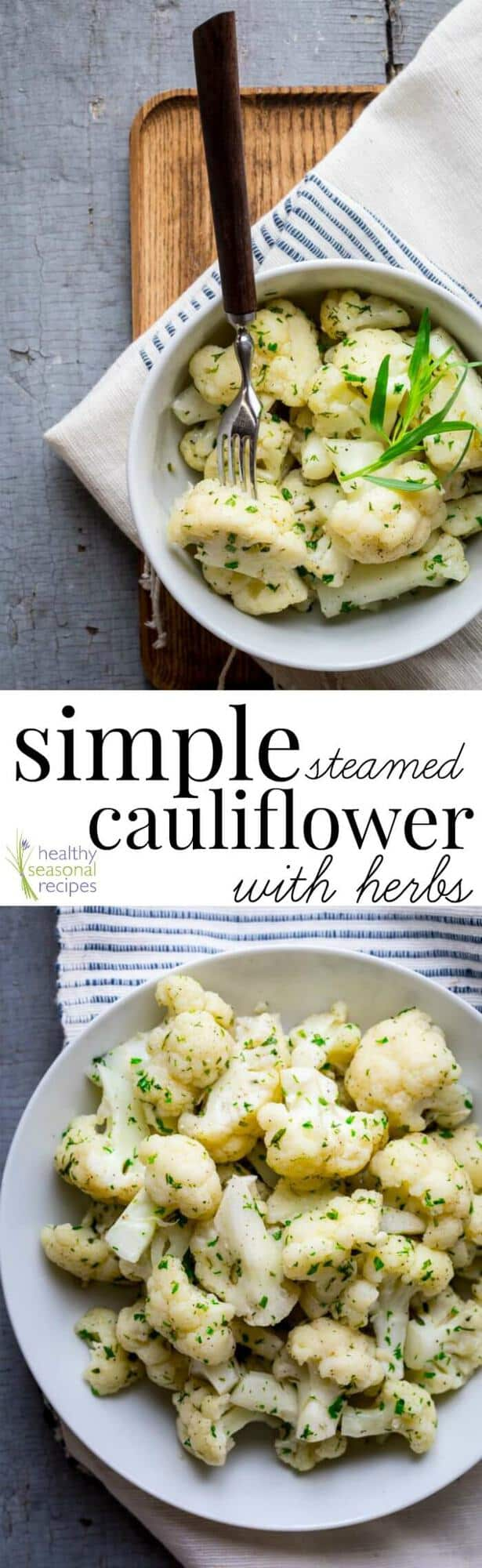 A bowl of Steamed cauliflower with text overlay