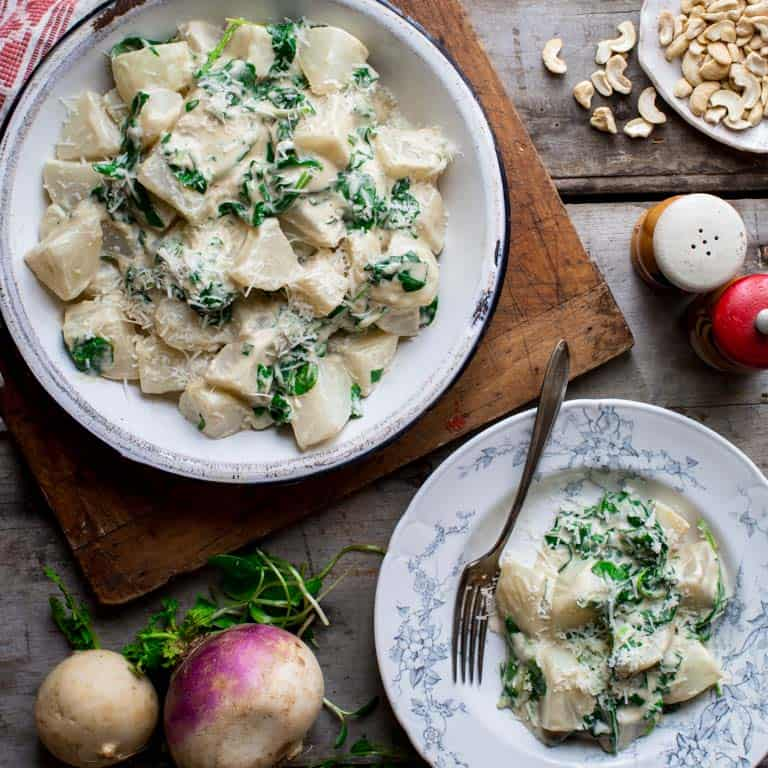 turnips and greens with cashew cream sauce