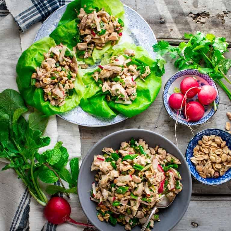 easy sesame chicken lettuce wraps