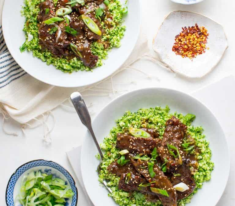grain-free mongolian beef and broccoli bowls