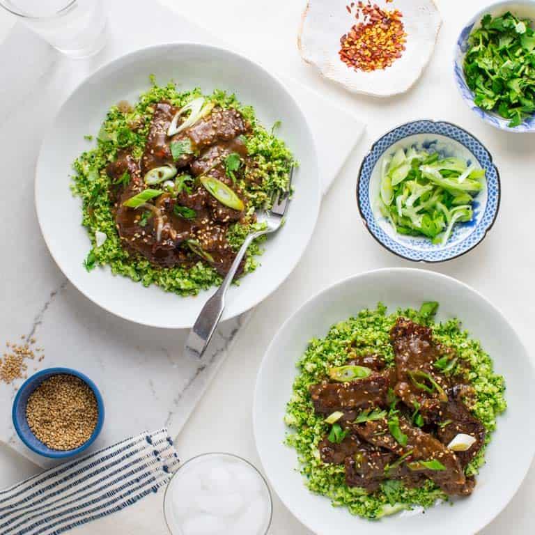 grain-free mongolian beef and broccoli bowls