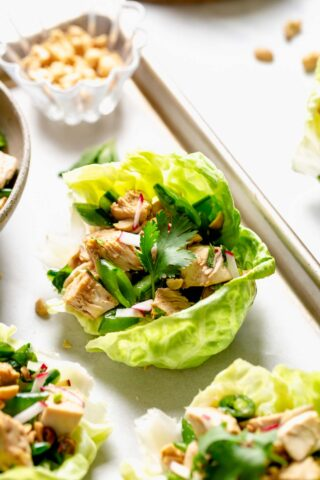 a side view of a lettuce wrap with peanuts and herbs