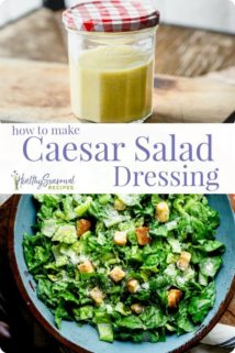 a collage of caesar salad and a jar of dressing with text overlay