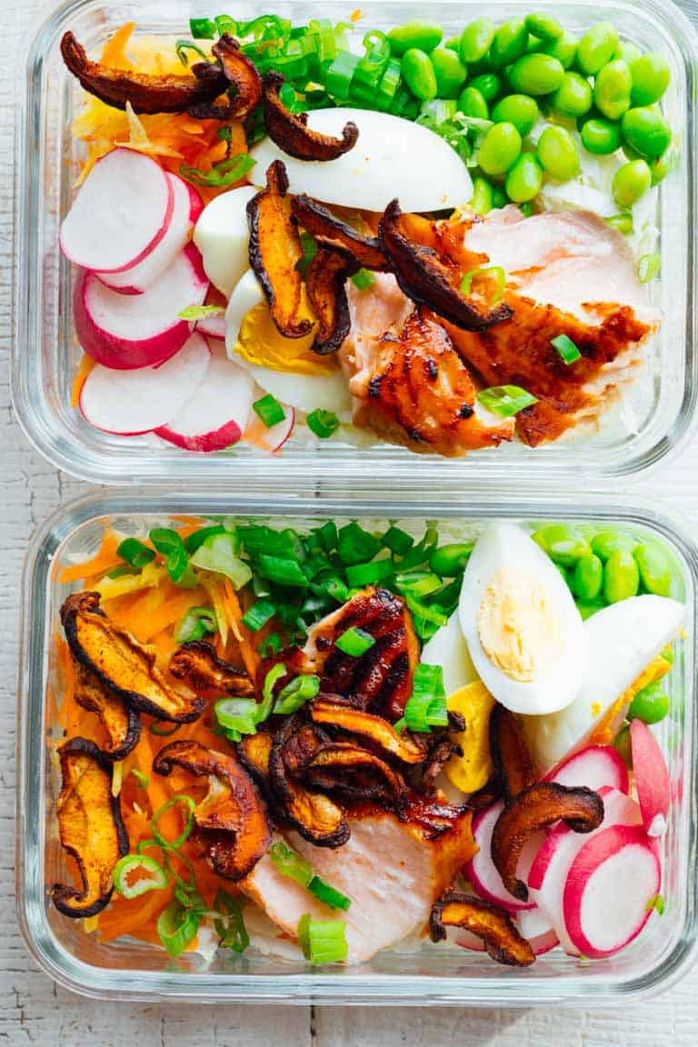 These Meal Prep Wasabi Glazed Salmon Power Salads are high protein, gluten-free and low carband totally satisfying for a week of healthy lunches. #salmon #mealprep #glutenfree #highprotein