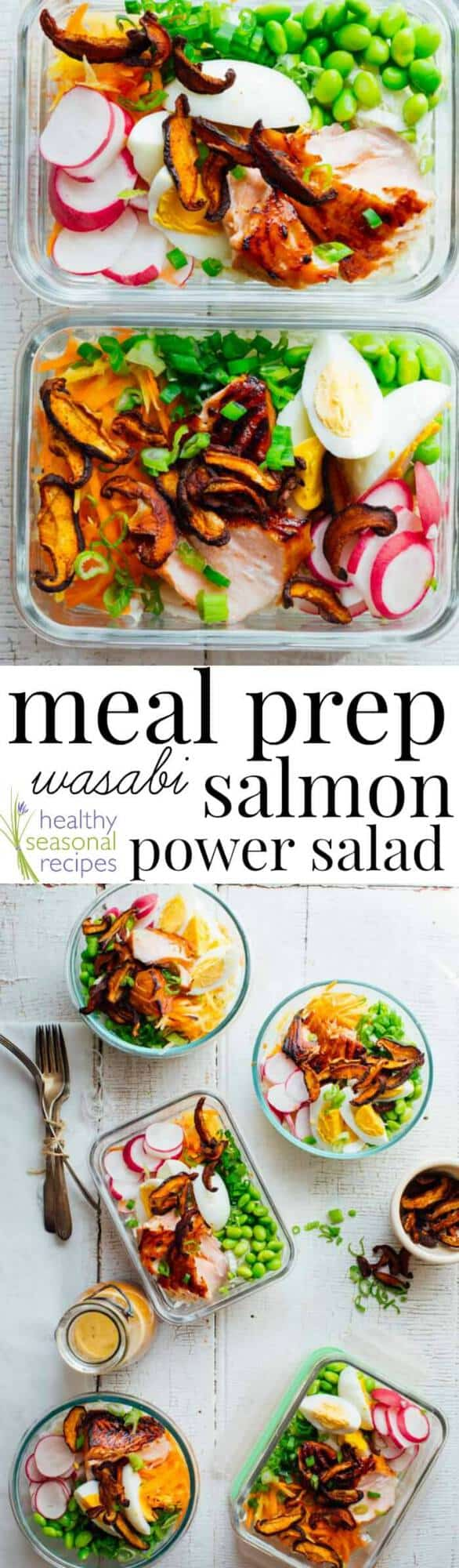 collage of meal prep salads with text