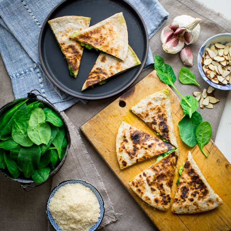 spinach pesto and cheddar quesadillas