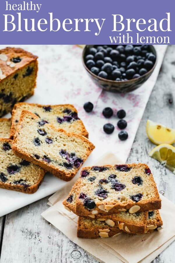 slices of blueberry bread with text overlay