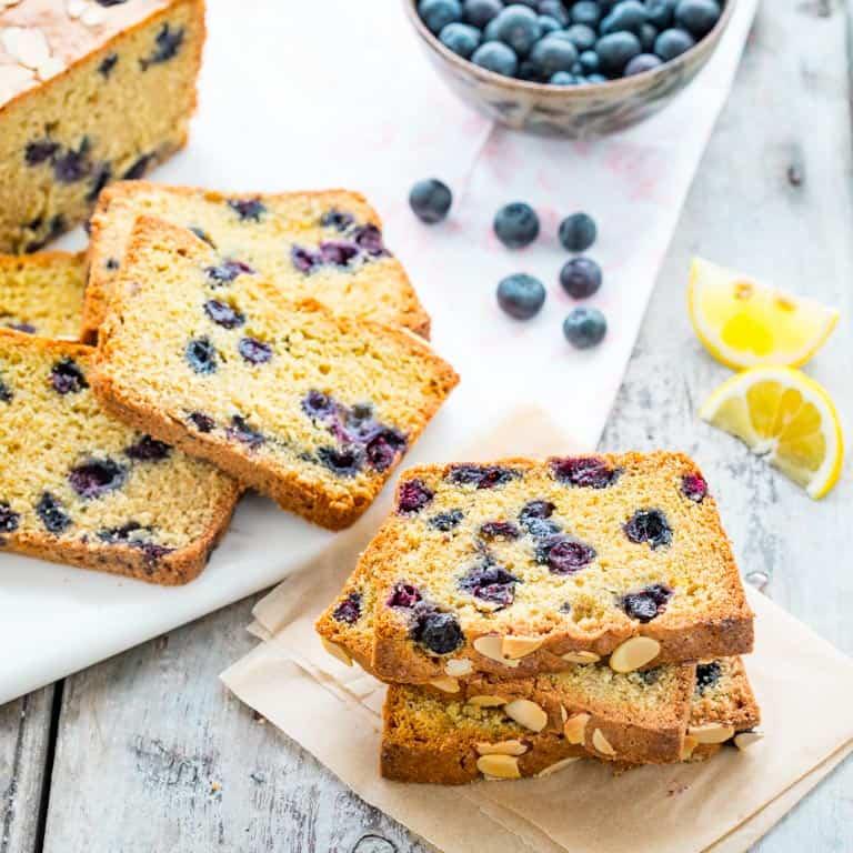 healthy blueberry lemon quick bread