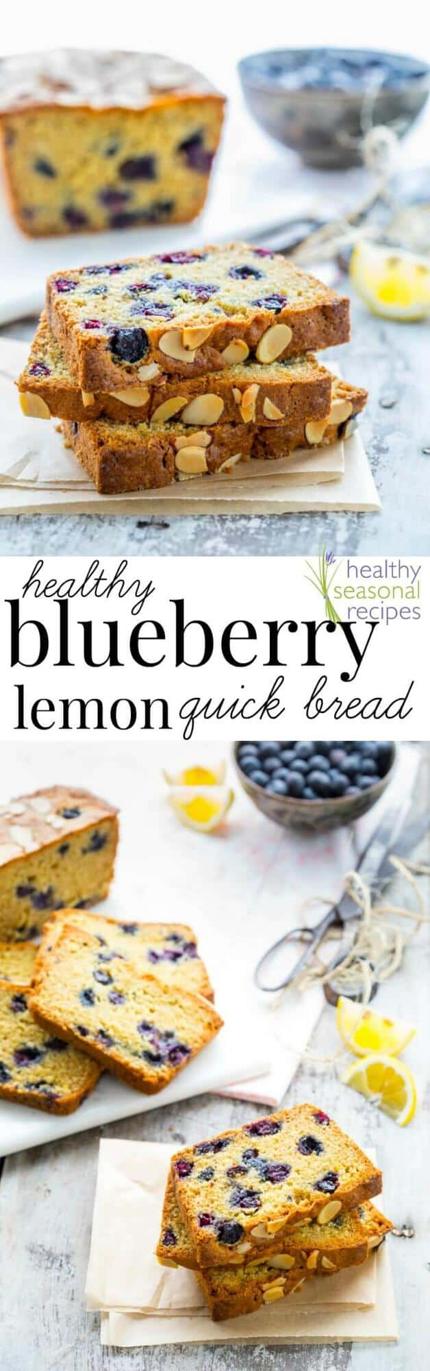 This Healthy Blueberry Lemon Quick Bread is an absolute must-bake recipe! It is sweet and lemony and bursting with blueberries. Healthy Seasonal Recipes by Katie Webster | #blueberry #summer #fresh #bread #lemon #healthy