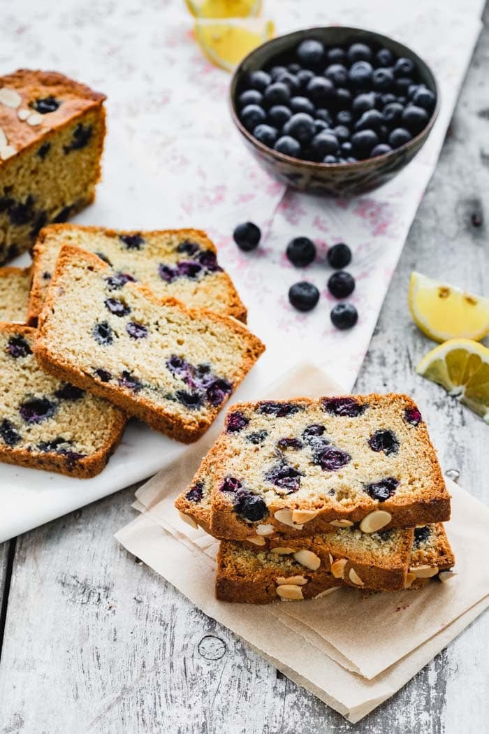 slices of blueberry bread