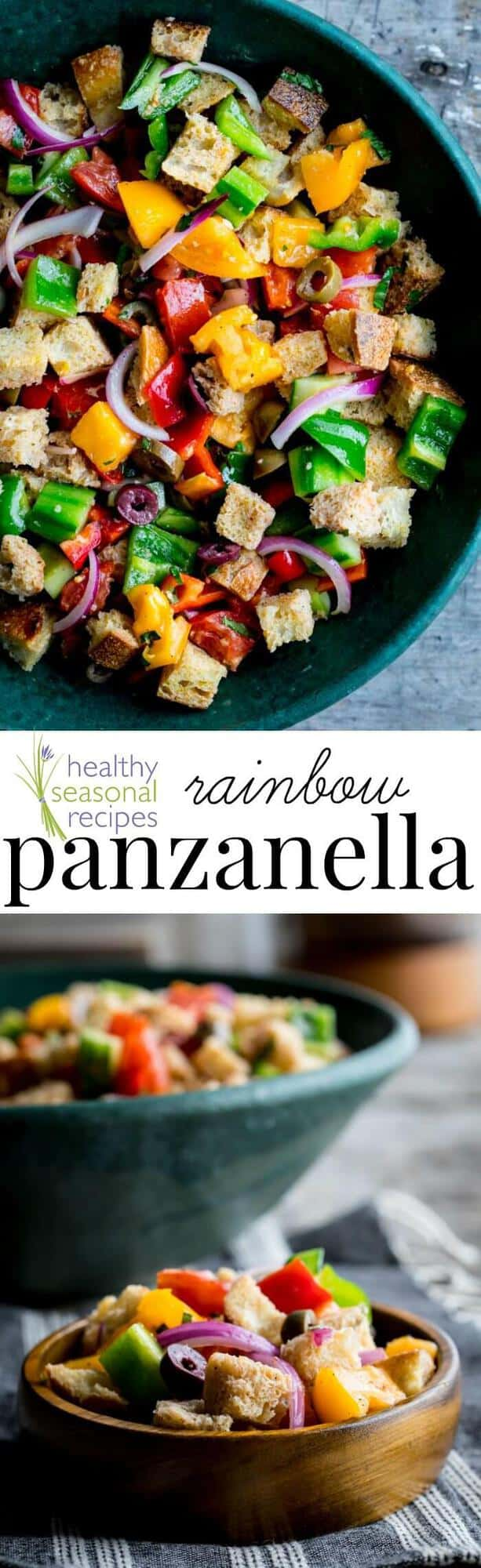 This rainbow panzanella has several fresh, colorful vegetables tossed in. It has a crust and softness that gets better as it sits. Perfect for summer potlucks and events!Healthy Seasonal Recipes by Katie Webster | #summer #vegetables #fresh #potluck #color #rainbow