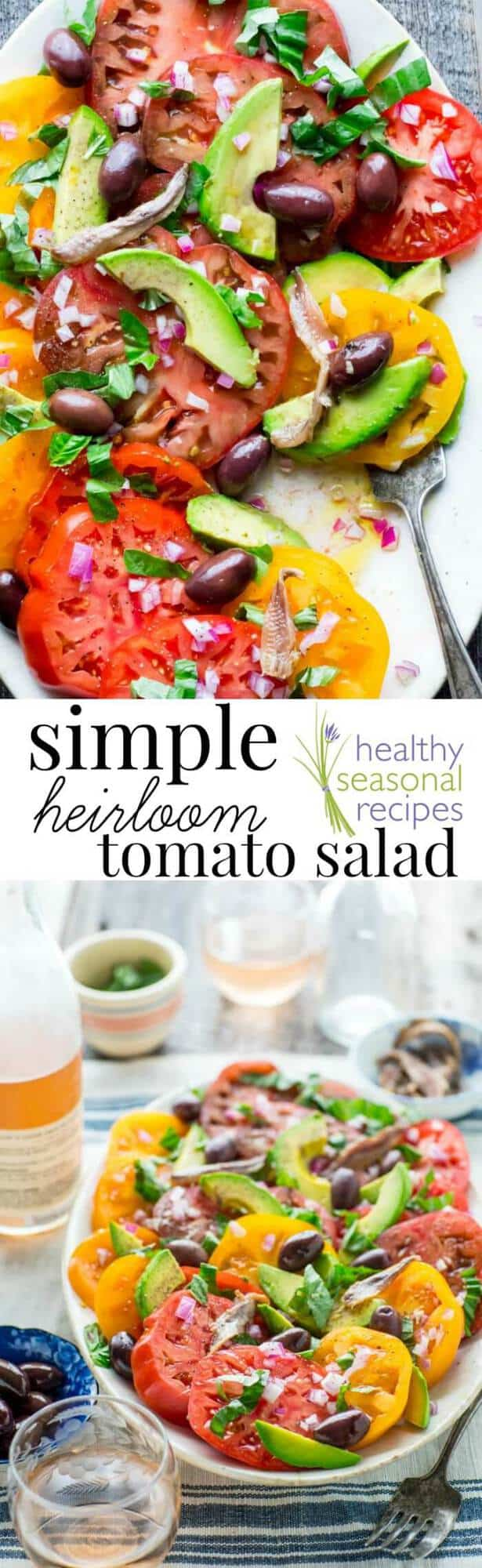 Here is an easy-going recipe for a simple tomato salad with anchovies, basil, olives and avocado. It's a healthy and simple side-dish to share with friends and family or to bring to a picnic or barbecue. It is paleo and dairy-free and ready in only 10 minutes!  Healthy Seasonal Recipes by Katie Webster | #tomato #salad #summer #paleo #dairyfree #healthy #sidedish