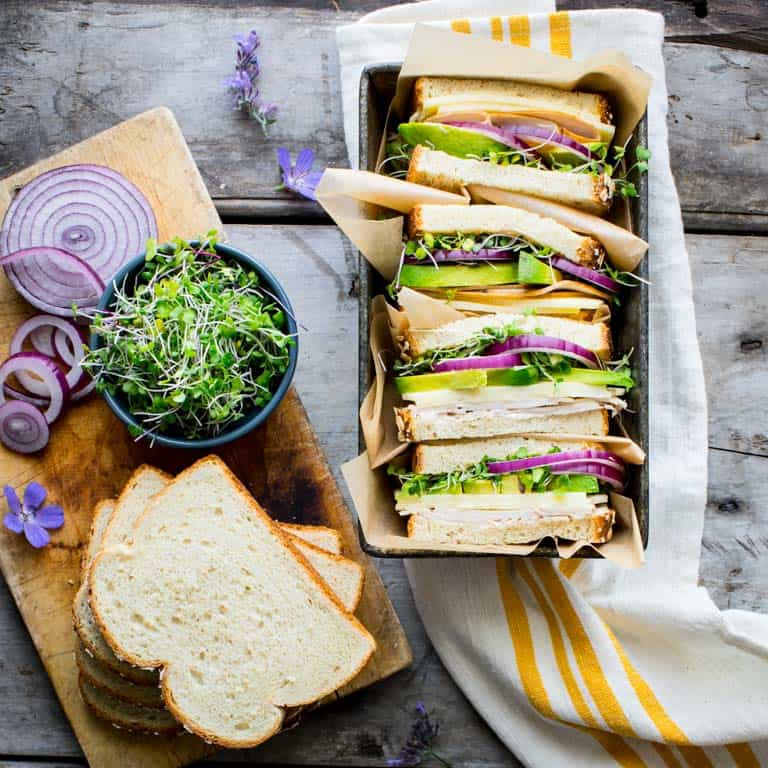 turkey sandwich with avocado and sprouts