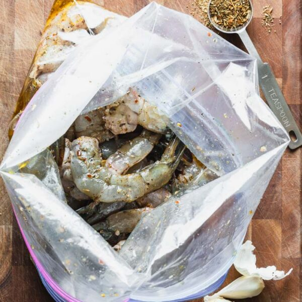a bag of shrimp in marinade