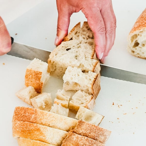 Cut bread into 1-inch cubes