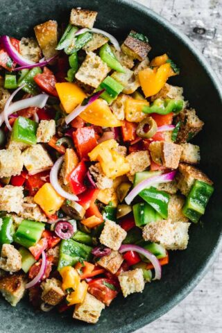 Closeup overhead of panzanella salad