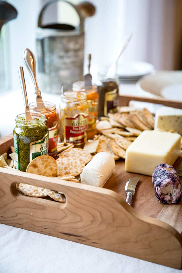 Vermont Cheeses and Pesto Board A variety of cheeses with jars of pesto on it for everyone to sample and take the Pestonality quiz. Healthy Seasonal Recipes