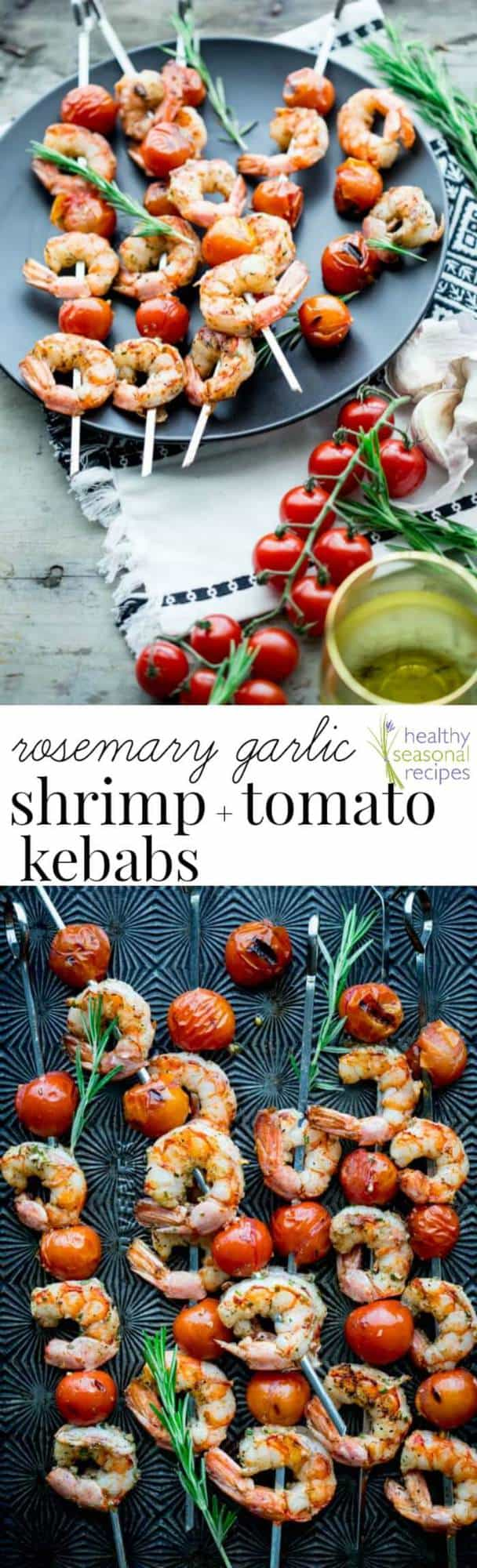 Nothing says summer like these rosemary shrimp and tomato kebabs. Fire up the grill this summer and enjoy these savory, buttery bites. Better yet, clean up is quick and easy! Great for weeknights with your family. Healthy Seasonal Recipes by Katie Webster | #summer #familyfriendly #kebab #savory #shrimp #tomato #quick #easy
