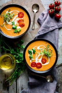 two bowls of gazpacho