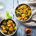 20 Minute Cheese Tortellini and Veggies Recipe - a super easy family friendly pasta recipe for weeknights. Healthy Seasonal Recipes by Katie Webster #vegetarian #20minuterecipe #pastarecipe #tortellini