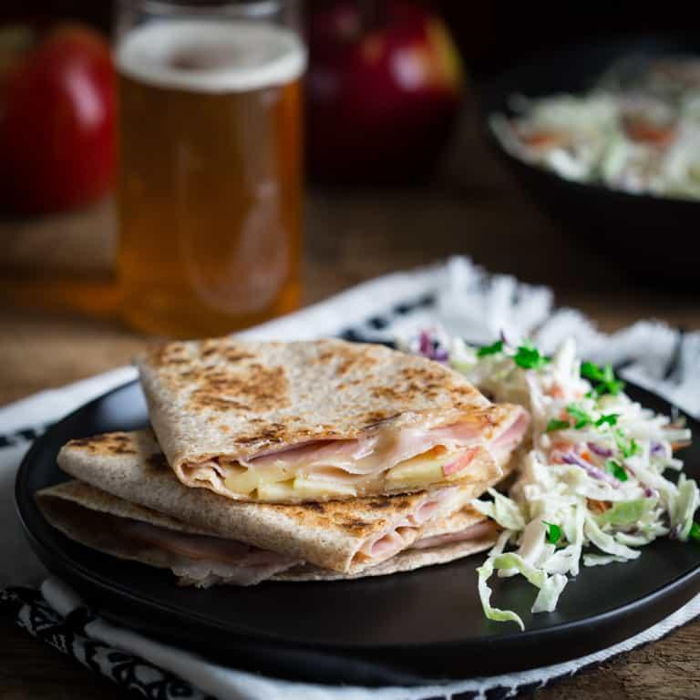 apple ham and cheddar quesadillas