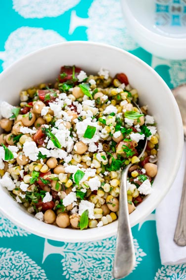 chickpea and grilled corn salad