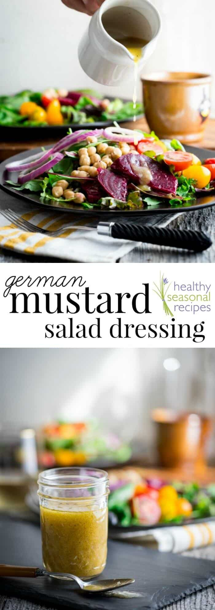 Are you searching for a healthy sugar-free salad dressing? Then you will love this Home-made German Mustard Salad Dressing! #mustarddressing #sugarfree #saladdressing #dressing #vinaigrette #healthy #lowcarb