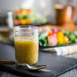 mustard dressing in a jar