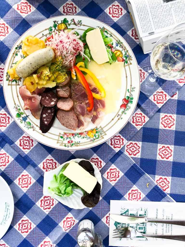 A sausage sampler plate in the Moselle River Valley in Germany | healthyseasonalrecipes.com