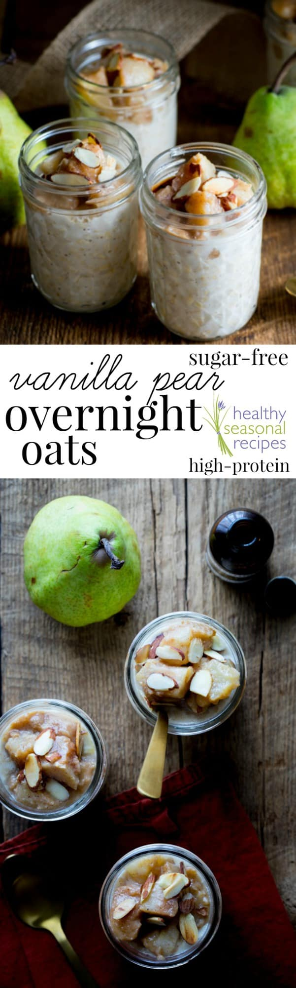 Pear and Vanilla oats collage with text