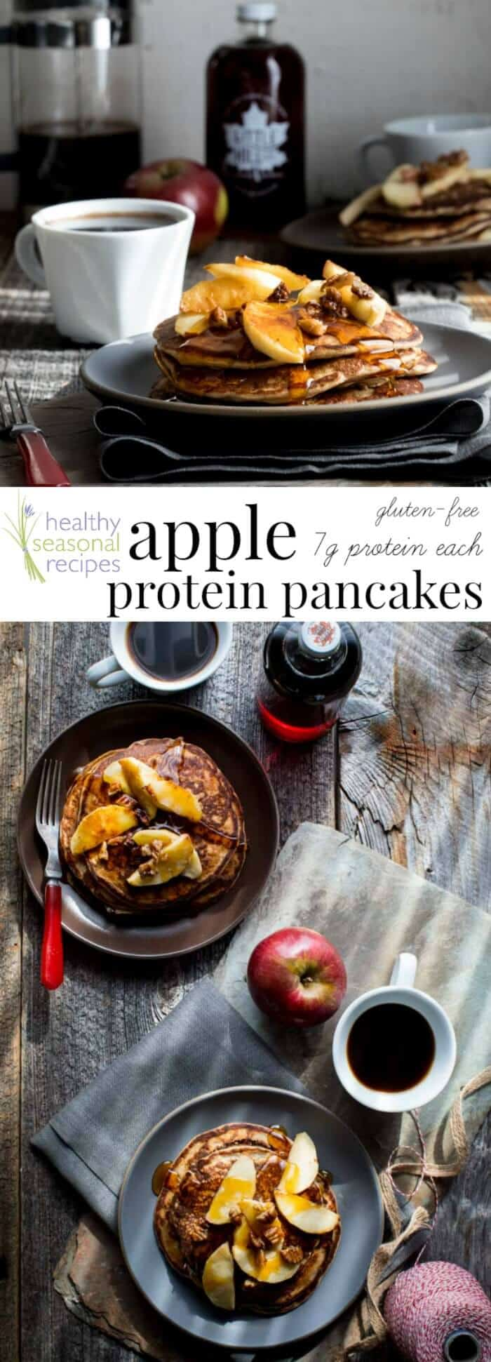 Behold, fall on a plate! These gluten-free Apple Protein Pancakes are going to be on your breakfast table for the entire fall season. Mark my words. They are made with oats, cottage cheese, eggs, and apples! You would never guess they don\'t have any flour in them! They\'re 106 calories each and have 7 grams protein each. #proteinpancakes #apples #breakfast #pancakes