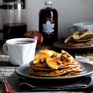 Behold, fall on a plate! These gluten-free Apple Protein Pancakes are going to be on your breakfast table for the entire fall season. Mark my words. They are made with oats, cottage cheese, eggs, and apples! You would never guess they don't have any flour in them! They're 106 calories each and have 7 grams protein each.