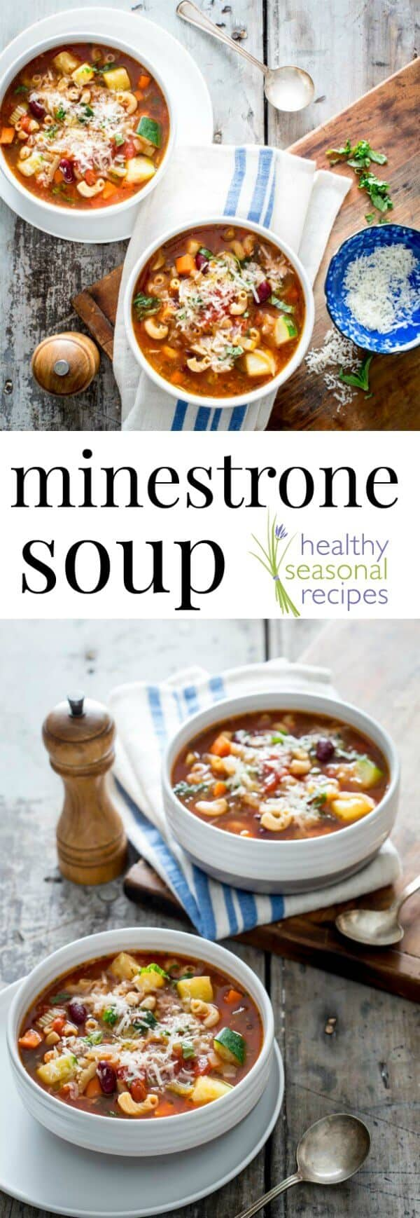 A fast and healthy Minestrone Soup recipe with zucchini and fresh basil. Vegan or gluten-free options if desired. High in fiber and only 111 calories per cup, it is surprisingly filling! Can be frozen too. @healthyseasonal #soup #minestrone #vegan #glutenfree #healthy
