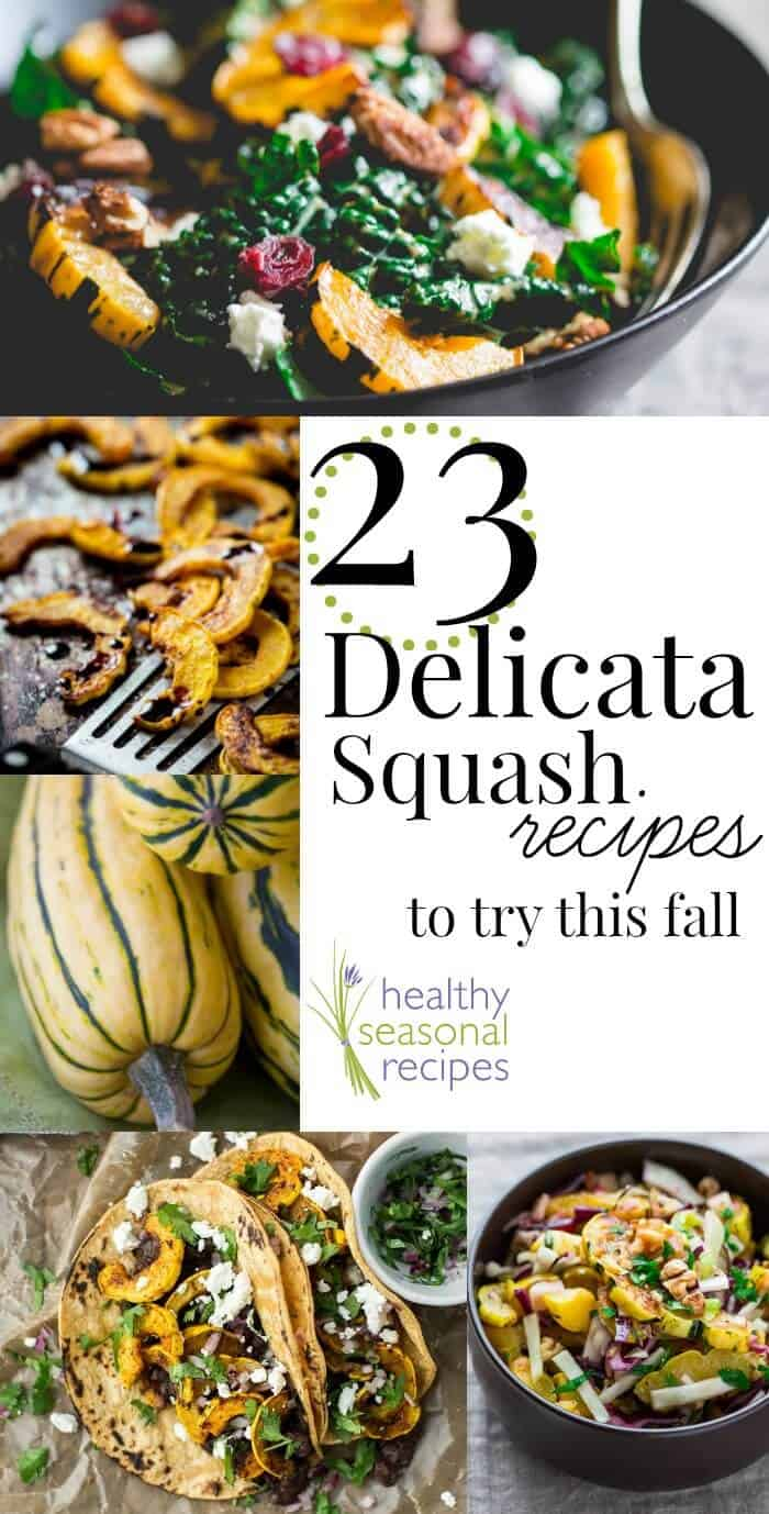 Don't miss checking out the 23 Delicata Squash Recipes that I've collected below from a few blogging friends as well as my own archives here on Healthy Seasonal Recipes! From a Vegetarian Delicata Squash with Thanksgiving Stuffing to a Gluten Free Kale Salad with Roasted Delicata Squash... there is something for everyone! #delicatasquash #squash #squashrecipes #thanksgiving #healthyrecipes