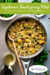 a saute pan with Vegetarian pumpkin quinoa Thanksgiving pilaf