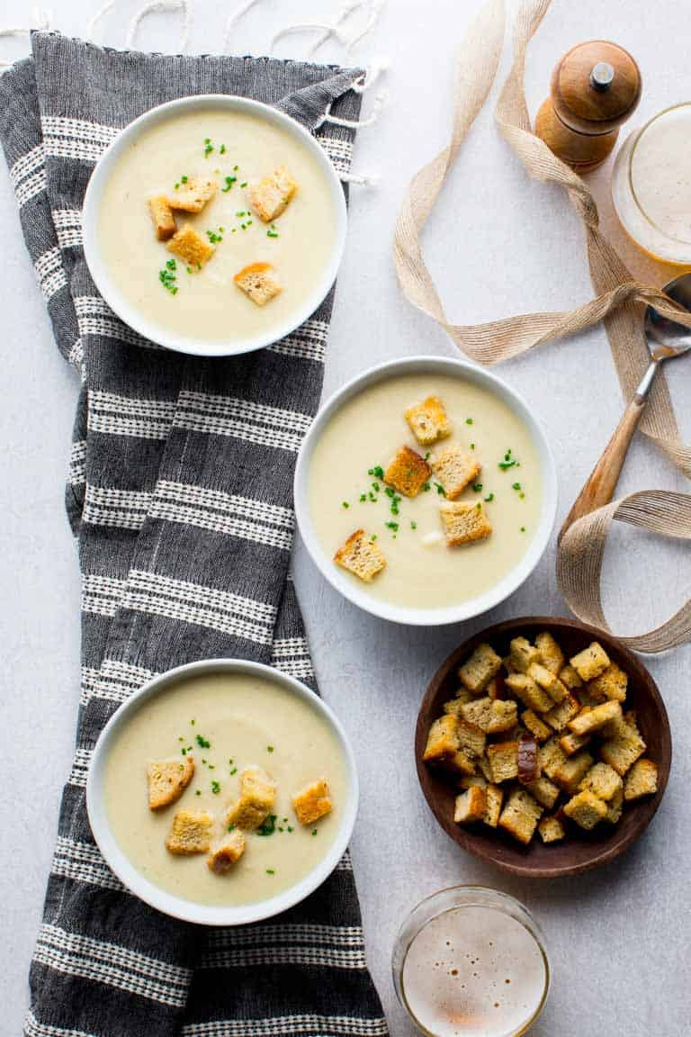 Easy Instant Pot Cream of Cauliflower Soup with Sharp White Cheddar Cheese. With a slow cooker option as well. Naturally gluten-free and only 245 calories per cup! Healthy Seasonal Recipe by Katie Webster #glutenfree #cauliflower #soup #instantpot #pressurecooker #healthy
