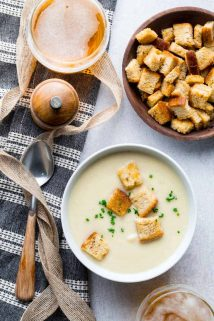Today's new recipe for Easy Instant Pot Cream of Cauliflower Soup with Sharp White Cheddar Cheese is the first of my new pressure cooker recipes here on Healthy Seasonal Recipes. But if you haven't bought an instant pot yet, there's a slow cooker option as well. The recipe is naturally gluten-free and only 245 calories per cup!  #glutenfree #vegetarian #cauliflower #soup #instantpot #pressurecooker