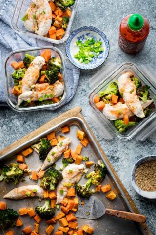 Meal Prep containers with Sheet Pan Chicken and Broccoli with Honey Sriracha Sauce