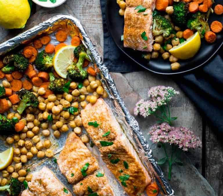 sheet pan salmon dinner with moroccan spice
