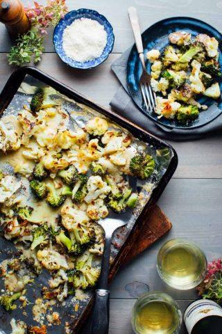 overhead sheet pan with cauliflower and broccoli