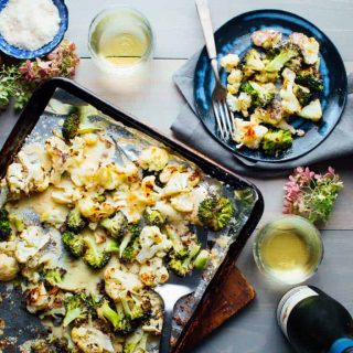 overhead sheet pan with cauliflower and broccoli