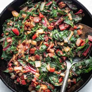 Close up of Simple sauteed Swiss Chard in a cast iron skillet